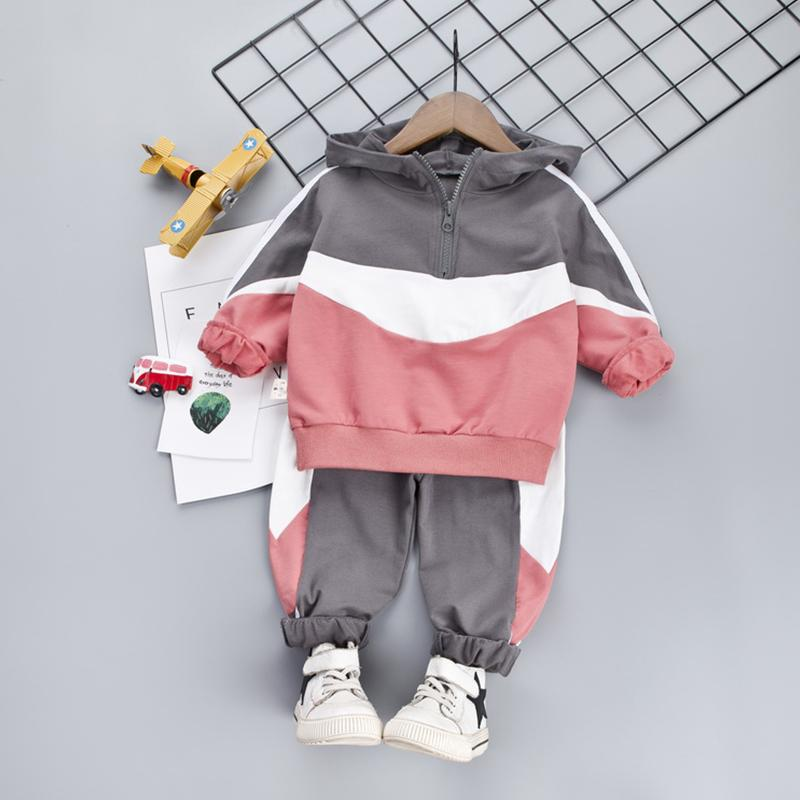 2-piece Color Contrast Hoodie & Pants for Toddler Boy
