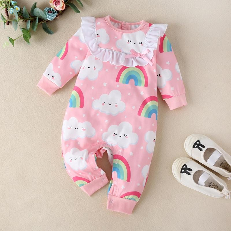 Clouds Rainbow Print Long Sleeve Romper for Baby Girl
