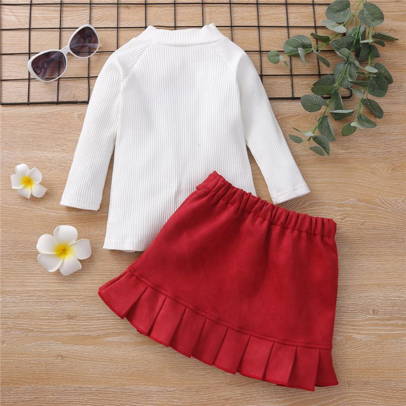 2-Pieces Solid Color Dress Set For Toddler Girls