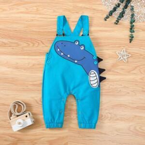 Dinosaur Pattern Bib Pants for Toddler Boy