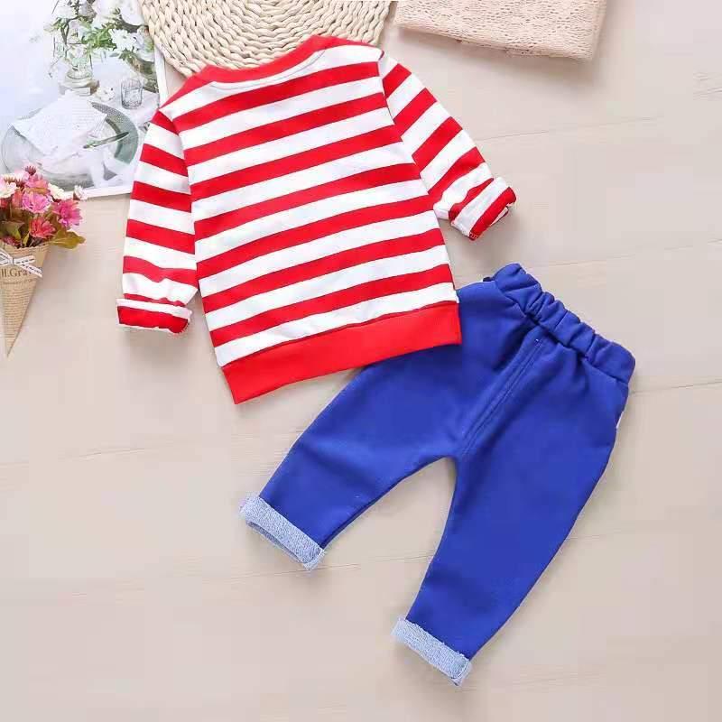 2-piece Bear Pattern Sweatshirt & Pants for Toddler Boy