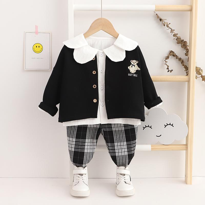 3-piece Coat & Shirt & Plaid Pants for Toddler Girl