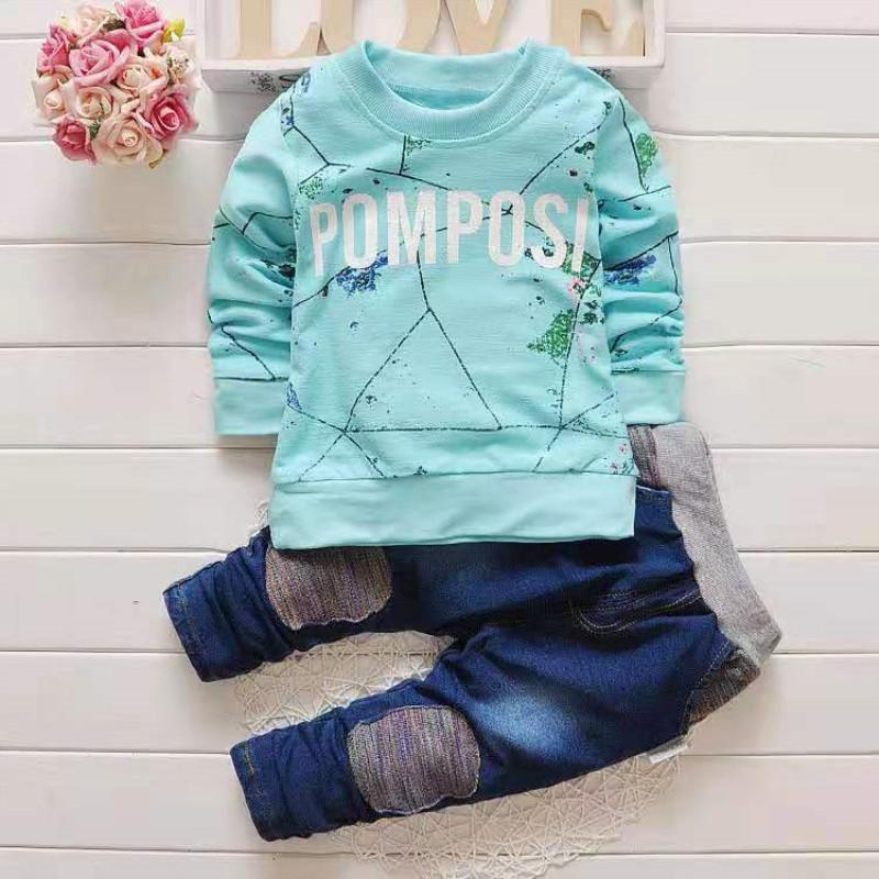 2-piece Letter Pattern Sweatshirt & Pants for Toddler Boy