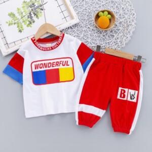 2-piece Color-block T-shirt & Pants for Toddler Boy