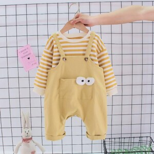 2-piece Striped Sweatshirt & Bib Pants for Toddler Boy