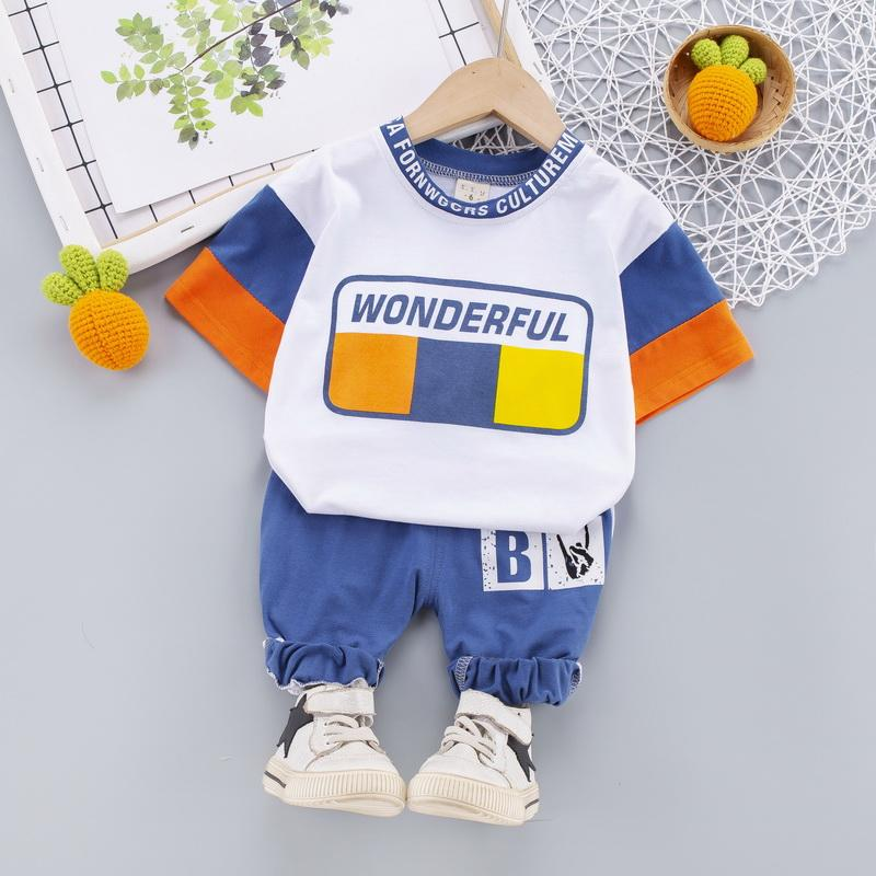 2-piece Color-block T-shirt & Pants for Toddler Boy
