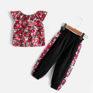 2-piece Floral Pattern Sleeveless Top & Pants for Toddler Girl