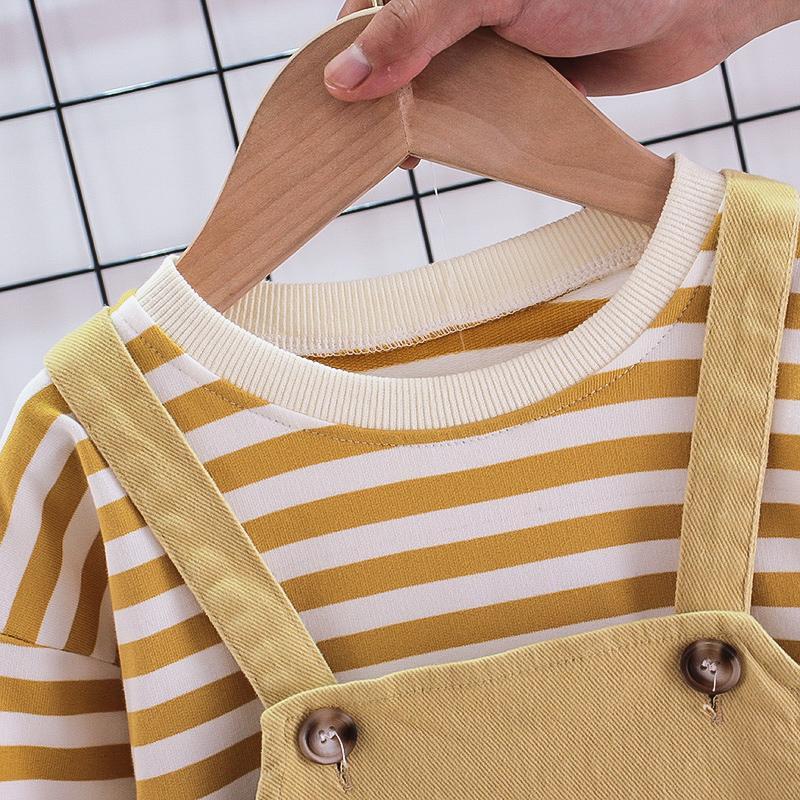 2-piece Striped Sweatshirt & Bib Pants for Toddler Boy