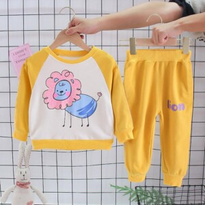 2-piece Lion Pattern Sweatshirt & Pants for Toddler Girl