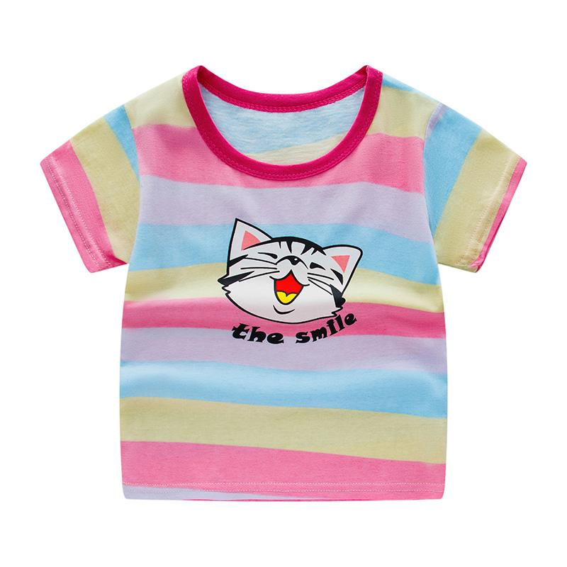 Colorful Stripes Pattern T-shirt for Girl