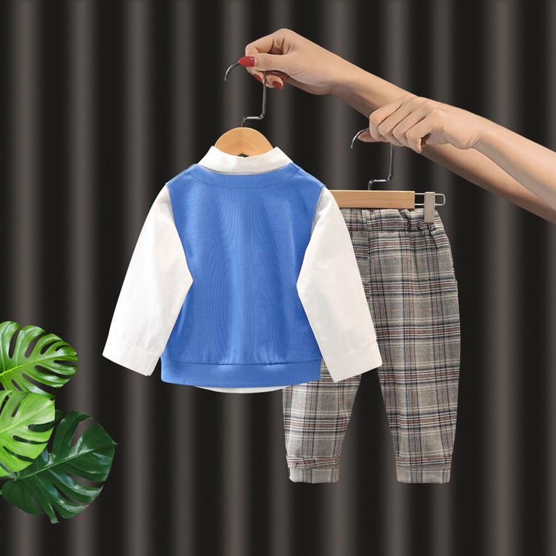 3-piece Vest & Shirt & Plaid Pants for Toddler Boy