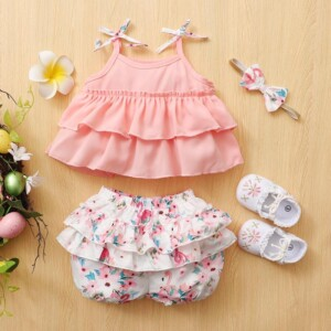 3-piece Sling Top & Shorts & Headband for Baby Girl