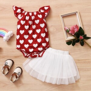 2-piece Heart-shaped Pattern Romper & Skirt for Baby Girl