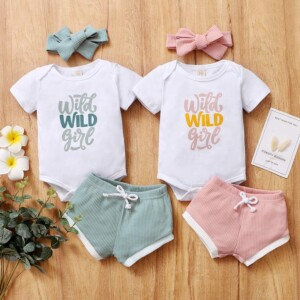 3-piece Romper & Headband & Shorts for Baby Girl