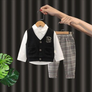 3-piece Vest & Shirt & Plaid Pants for Toddler Boy