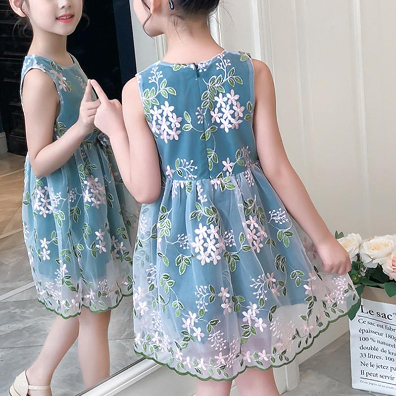 Floral Embroidered Gauze Dress for Girl