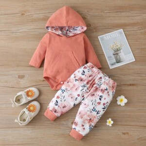 2-piece Hooded Romper & Floral Pants for Baby Girl