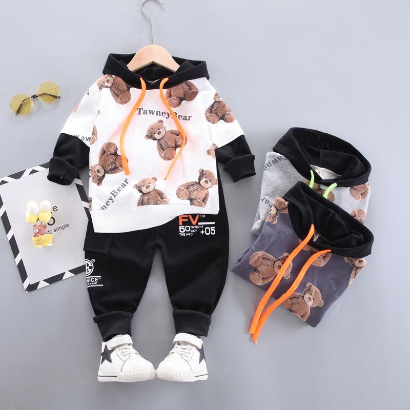2-piece Bear Pattern Hoodie & Pants for Boy
