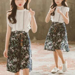 2-piece Ruffle Sleeveless Shirt & Floral Knee Length Pants for Girl