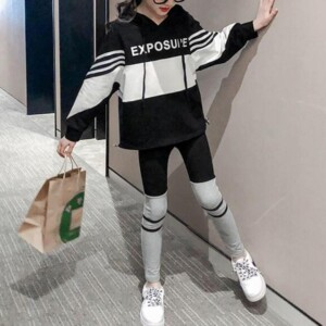2-piece Color-block Hoodie & Pants for Girl