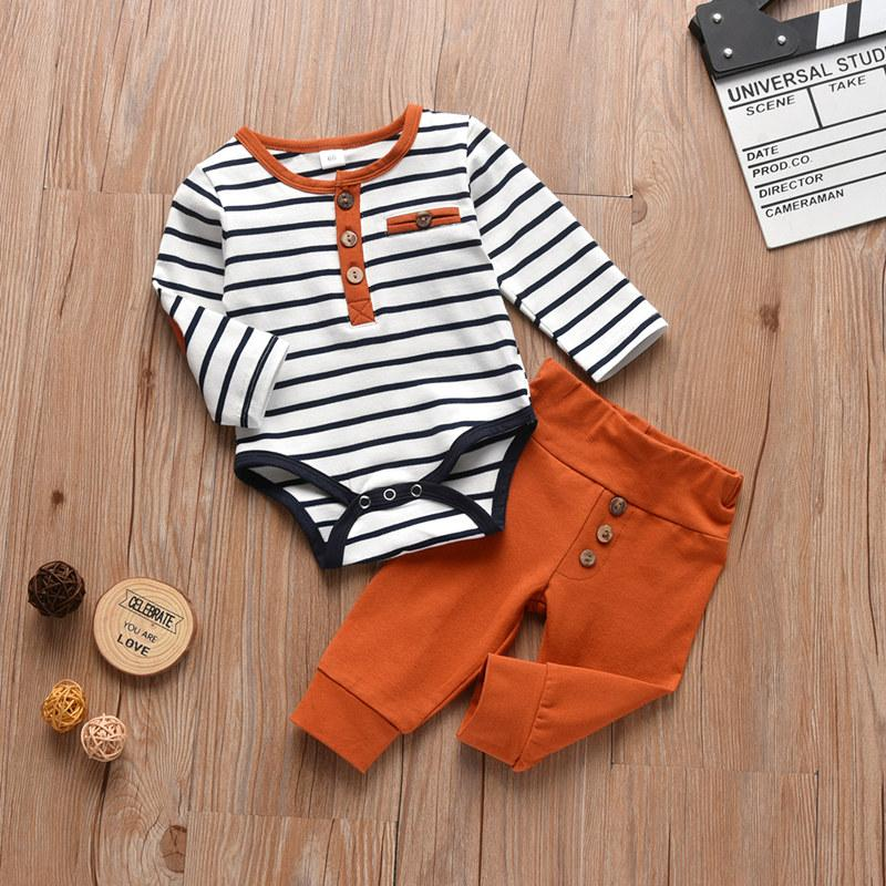 2-piece Striped Romper & Pants for Baby Boy