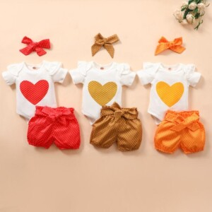 3-piece Headband & Romper & Shorts for Baby Girl