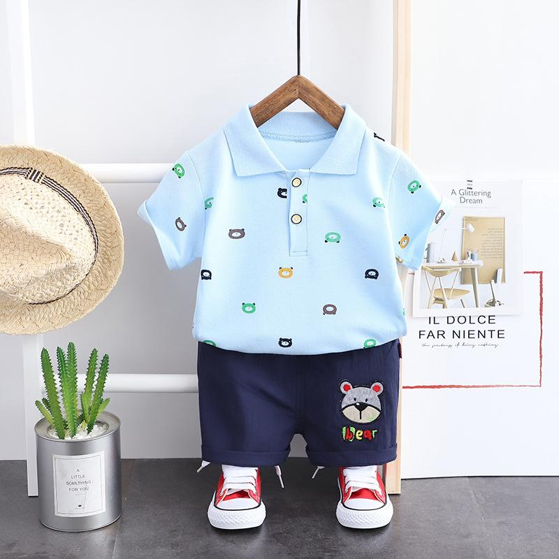 2-piece Bear Pattern T-shirt & Shorts for Toddler Boy