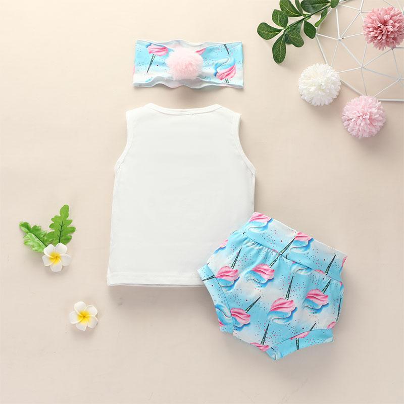 3-piece Vest & Headband & Flamingos Pattern Shorts for Baby Girl