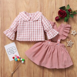 2-piece Plaid Shirt & Skirt for Baby Girl