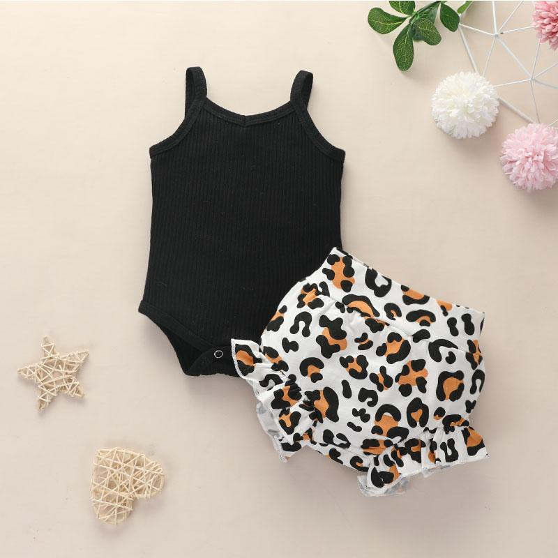 3-piece Romper & Headband & Leopard Shorts for Baby Girl