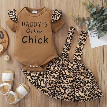 2-piece Letter Pattern Bodysuit & Braces Skirt for Baby Girl