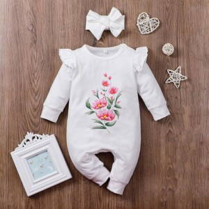 2-piece Headband & Floral Pattern Romper for Baby Girl