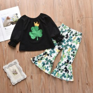 2-piece Long Sleeve T-shirt & Pants for Toddler Girl