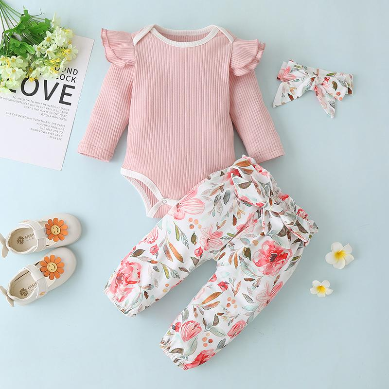 3-piece Romper & Headband & Floral Pants for Baby Girl