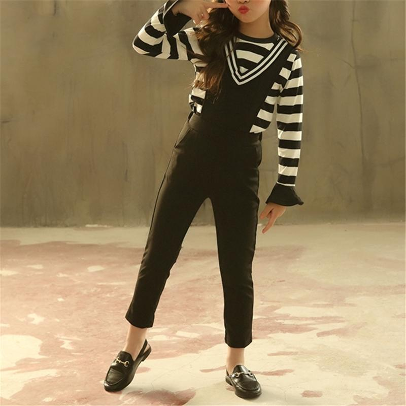 2-piece Striped Top & Overalls for Girl
