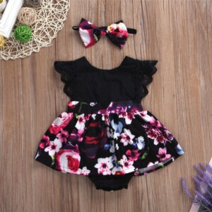 2-piece Floral Printed Bodysuit & Headband for Baby Girl