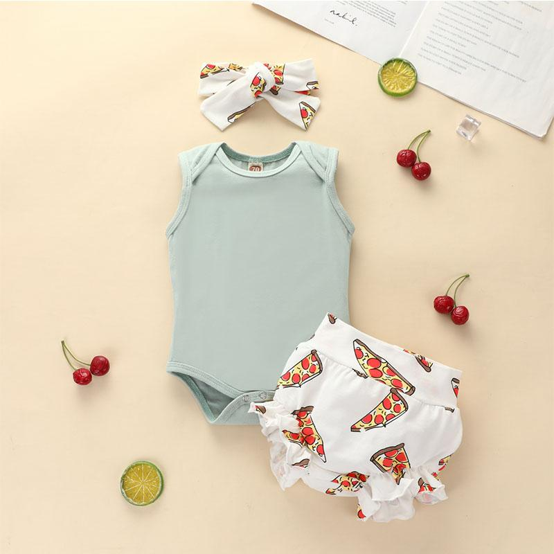 3-piece Romper & Headband & Shorts for Baby Girl