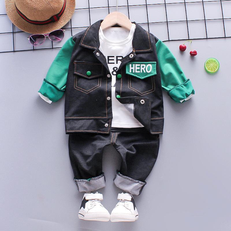 3-piece Color-block Coat & Long Sleeve T-shirt & Pants for Toddler Boy