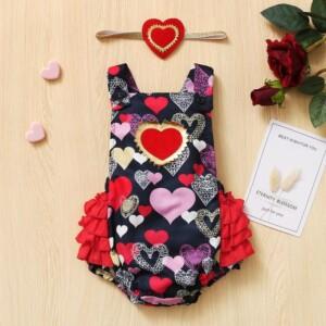 2-piece Heart-shaped Pattern Bodysuit & Headband for Baby Girl