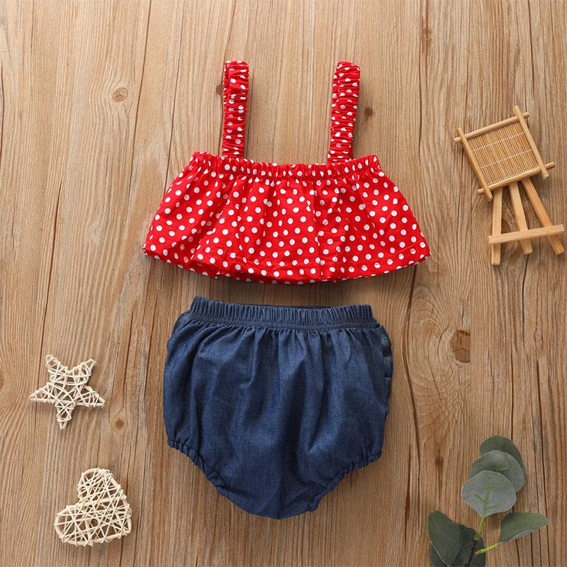 2-piece Polka Dot Sling Top & Shorts for Baby Girl