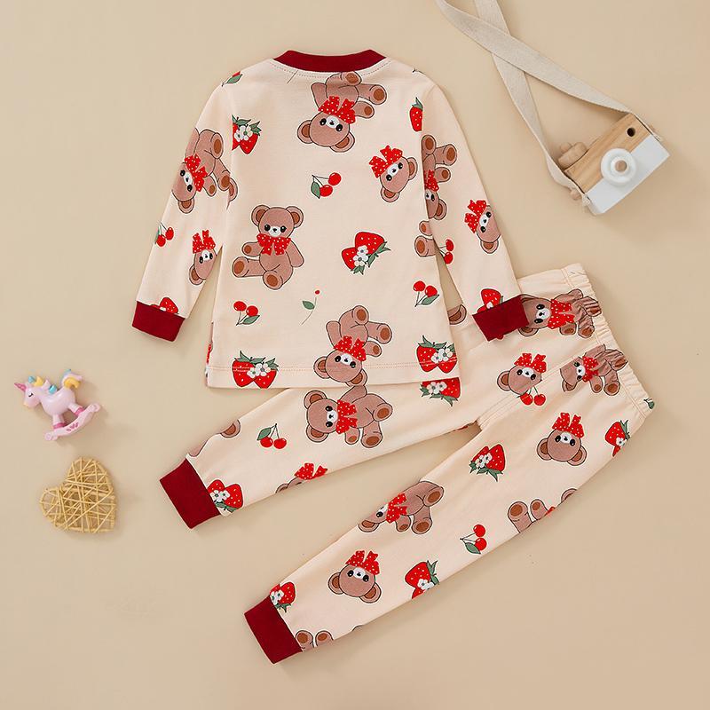 2-piece Bear Pattern Pajamas Sets for Toddler Girl