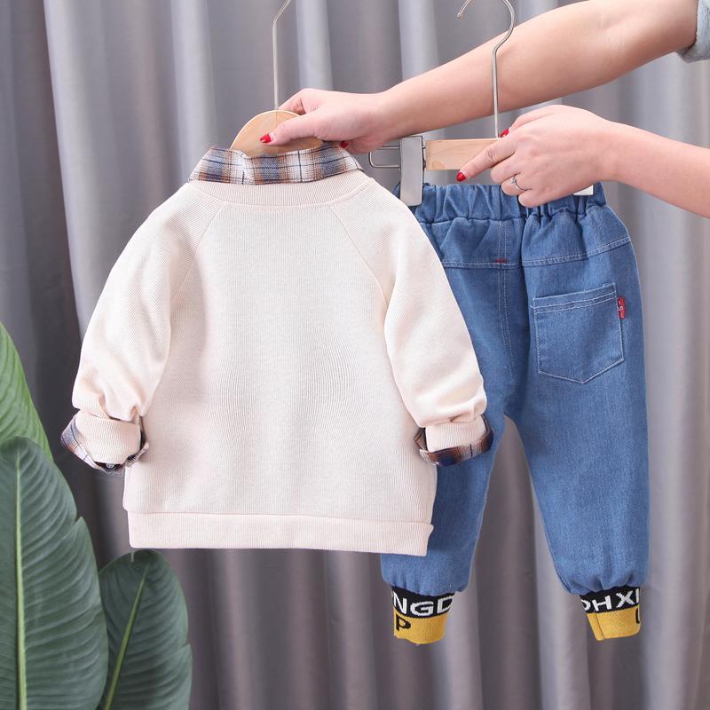 3-piece Coat & Plaid Shirt & Pants for Toddler Boy