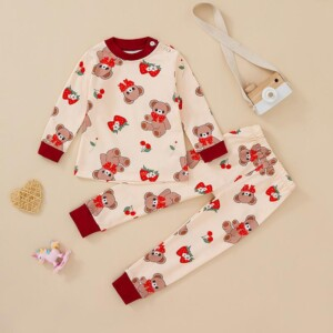 2-piece Bear Pattern Pajamas Sets for Toddler Girl
