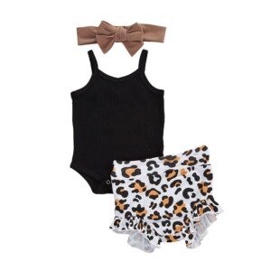3-piece Romper & Headband & Leopard Shorts for Baby Girl