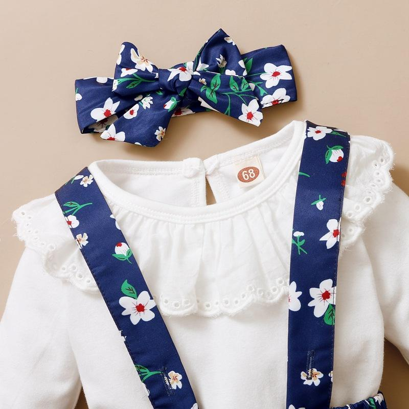 3-piece Shirt & Floral Skirt & Floral Headband for Baby Girl