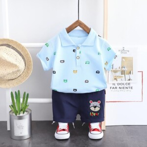 2-piece Bear Pattern T-shirt & Shorts for Toddler Boy