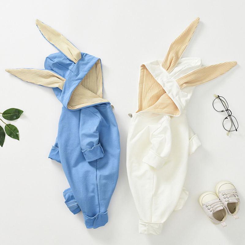 Long-Sleeve Solid 3D Design Rabbit Ear Jumpsuit
