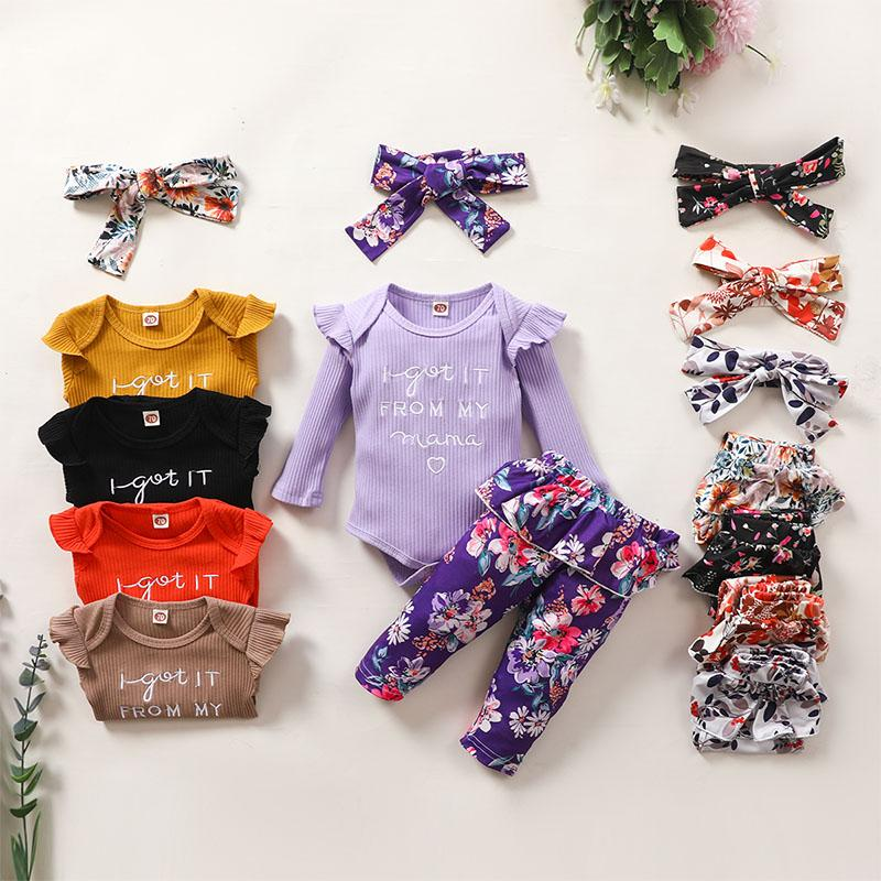 3-piece Romper & Floral Headband & Floral Pants for Baby Girl