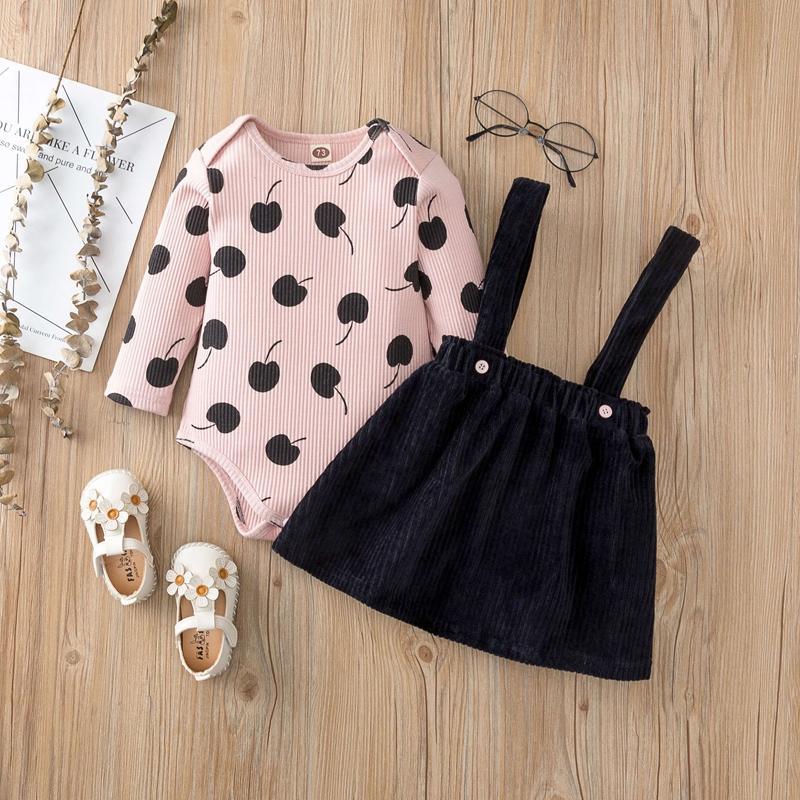 2-piece Polka Dot Romper & Skirt for Baby Girl