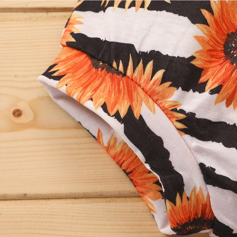 3-piece Romper & Headband & Sunflower Shorts for Baby Girl